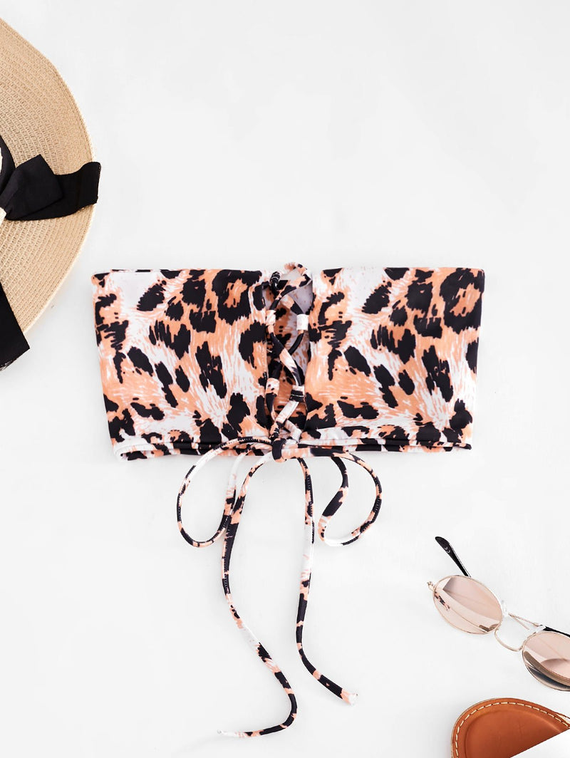 WELOOC Animal Print Lace-up Bandeau Bikini Top