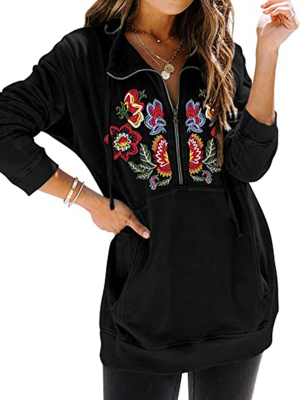Flora Embroidery Zip Half Placket Longline Sweatshirt