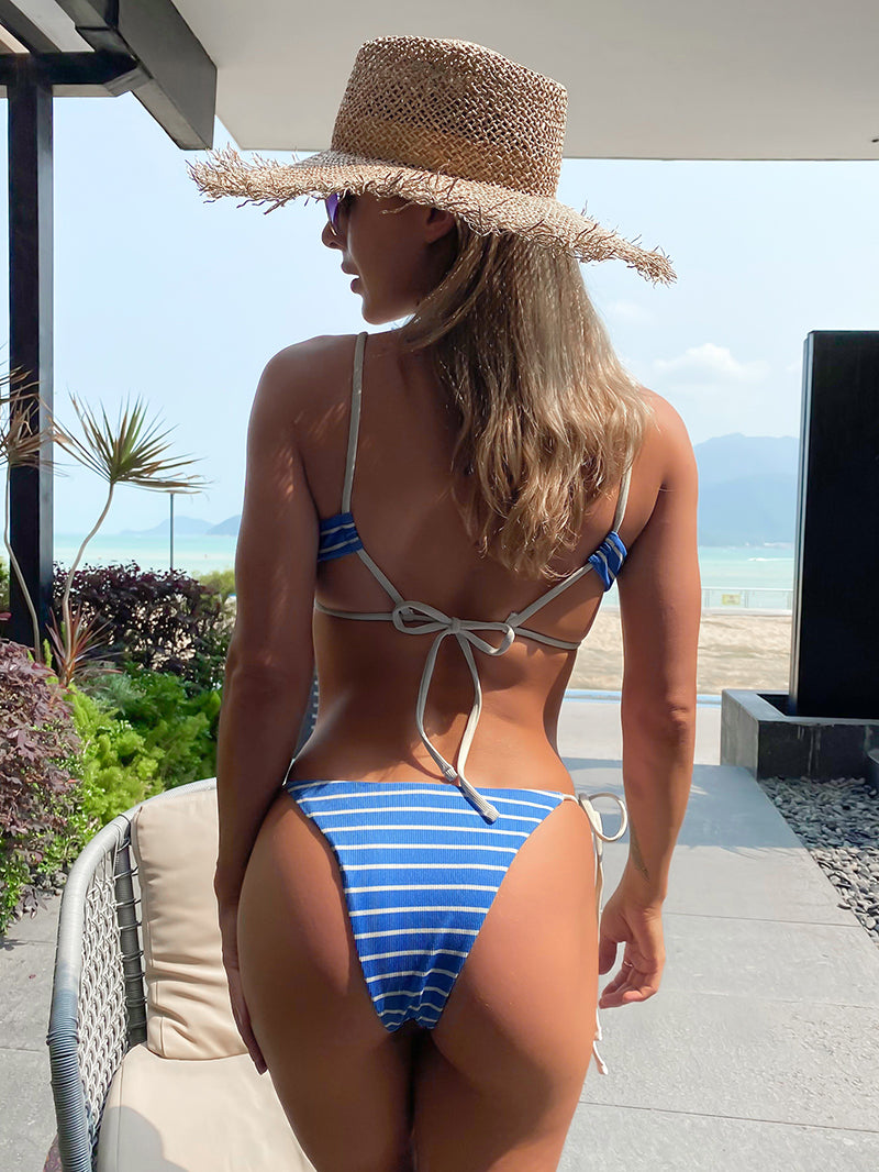 Striped Ribbed O-ring Tie Side Bikini Swimwear