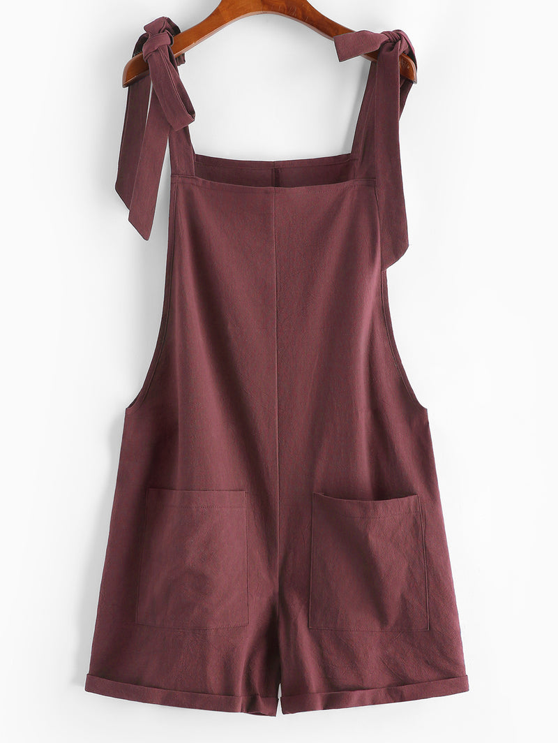 Tie Front Pocket Cuffed Romper