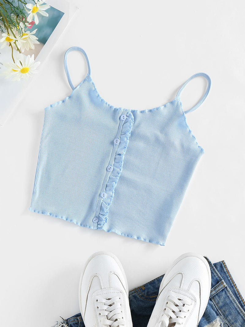 WELOOC Ruffle Ribbed Crop Top