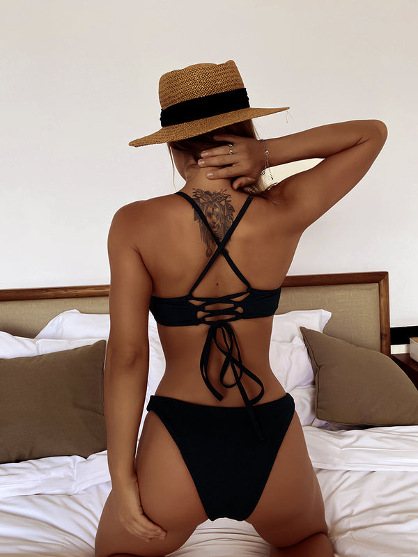 O Ring Rib-Knit Lace Up Back Bikini Swimsuit