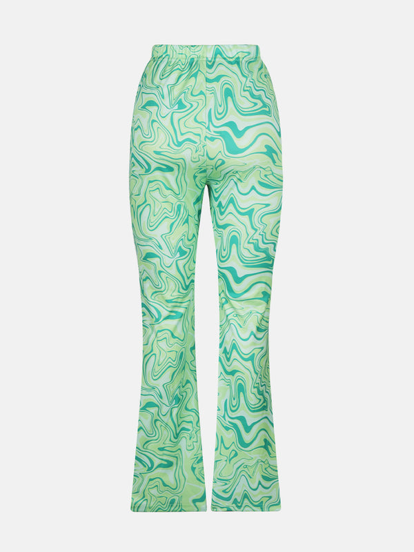 Wave Print Bell Pants