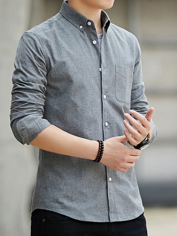 Men Cotton Shirts Classical Casual Shirt Single Chest Pockets