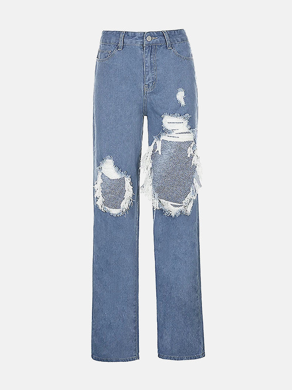 Light Wash Distressed High Waist Mom Jeans