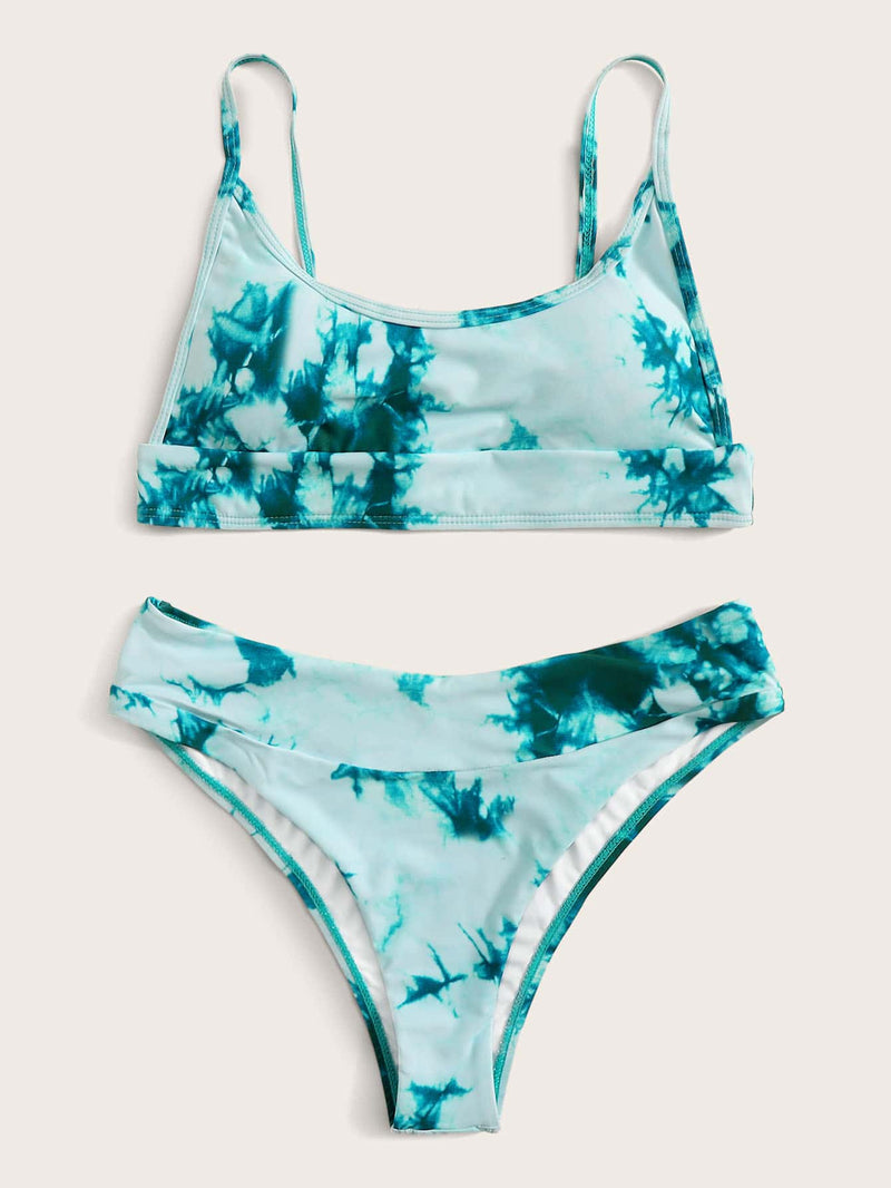 Tie Dye Ocean Marble Pattern Top With Panty High Cut  Bikini Set