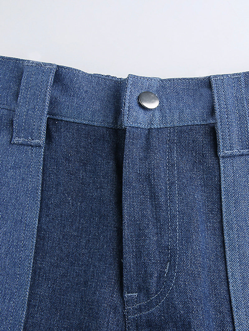 Stitching Contrast High Rise Flap Pocket Jeans