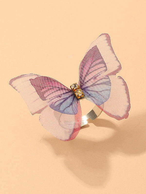 Double Mesh Rhinestone Butterfly Decor Ring
