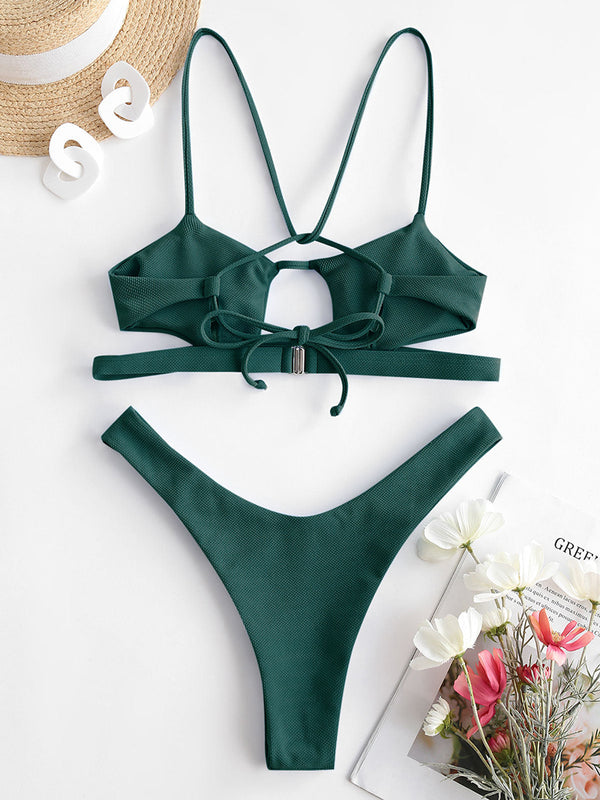 Textured Cutout Strappy Bikini Swimwear