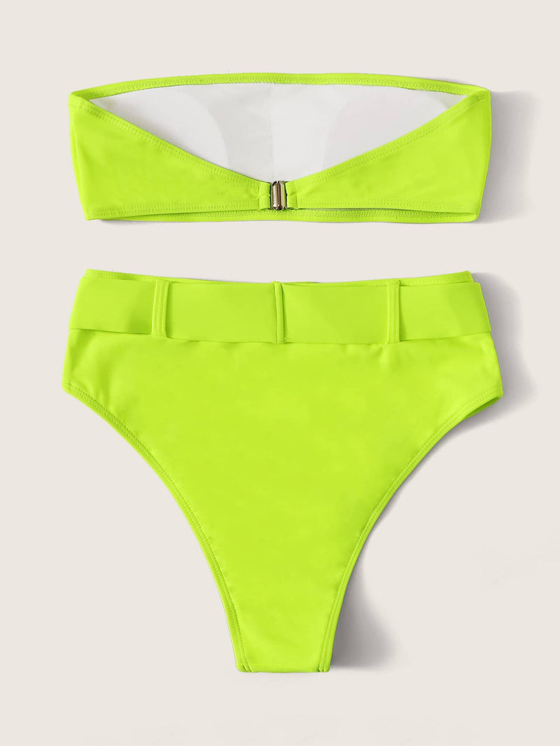 Bandeau With Belted High Waist Bikini Set