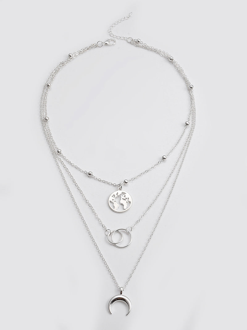 Moon And Link Charm Layered Necklace