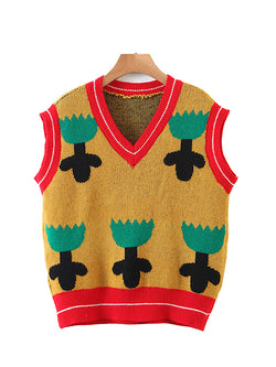 Color Block Flower Knit Vest