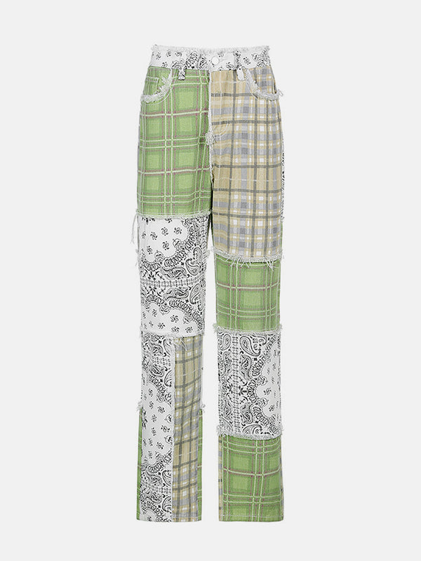 Green Patchwork Mom Jeans
