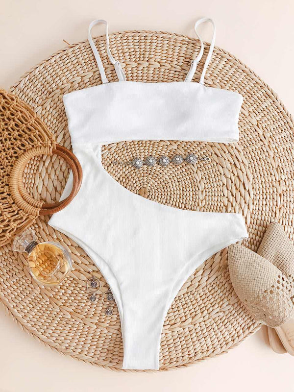 WELOOC Ribbed Cutout High Cut One-piece Swimsuit