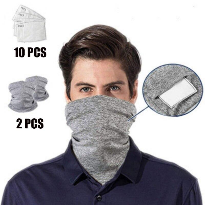 Unisex Anti-Dust Washable Bandanas Neck Gaiter with PM2.5 Filters for Adult