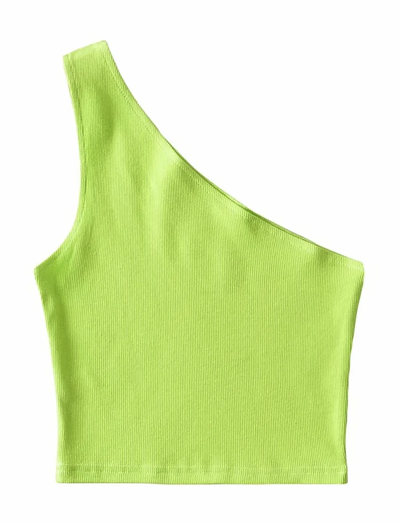 Solid One Shoulder Rib-Knit Crop Tank Top