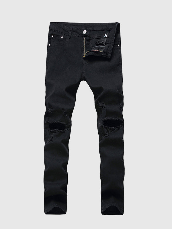 Men's Slim Fit Hole Out Jeans