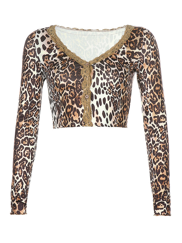 Leopard Print Button Front Lace V Neck Cardigan