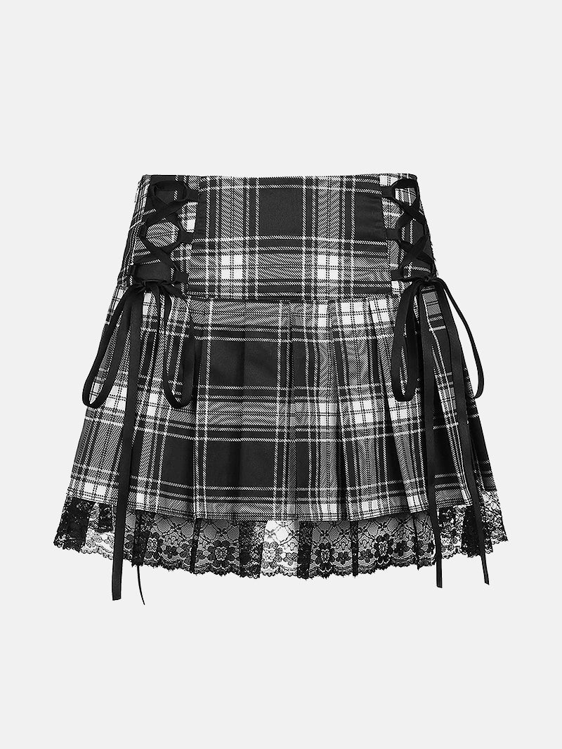 Color Block Plaid Lace Trim Pleated Skirt