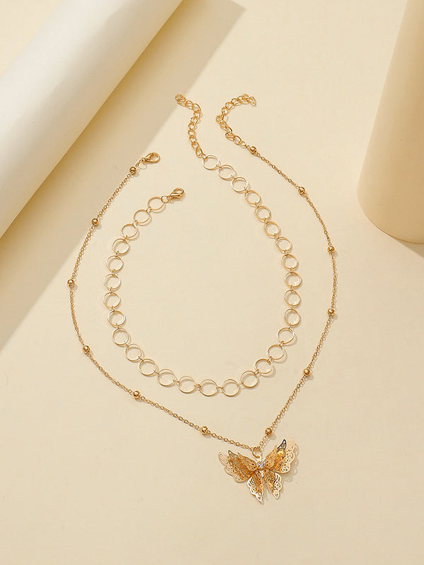 Two Pcs Hollowed Out Layered Butterflies Necklace