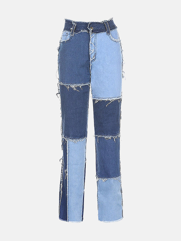 Color Block Raw Hem Mom Jeans