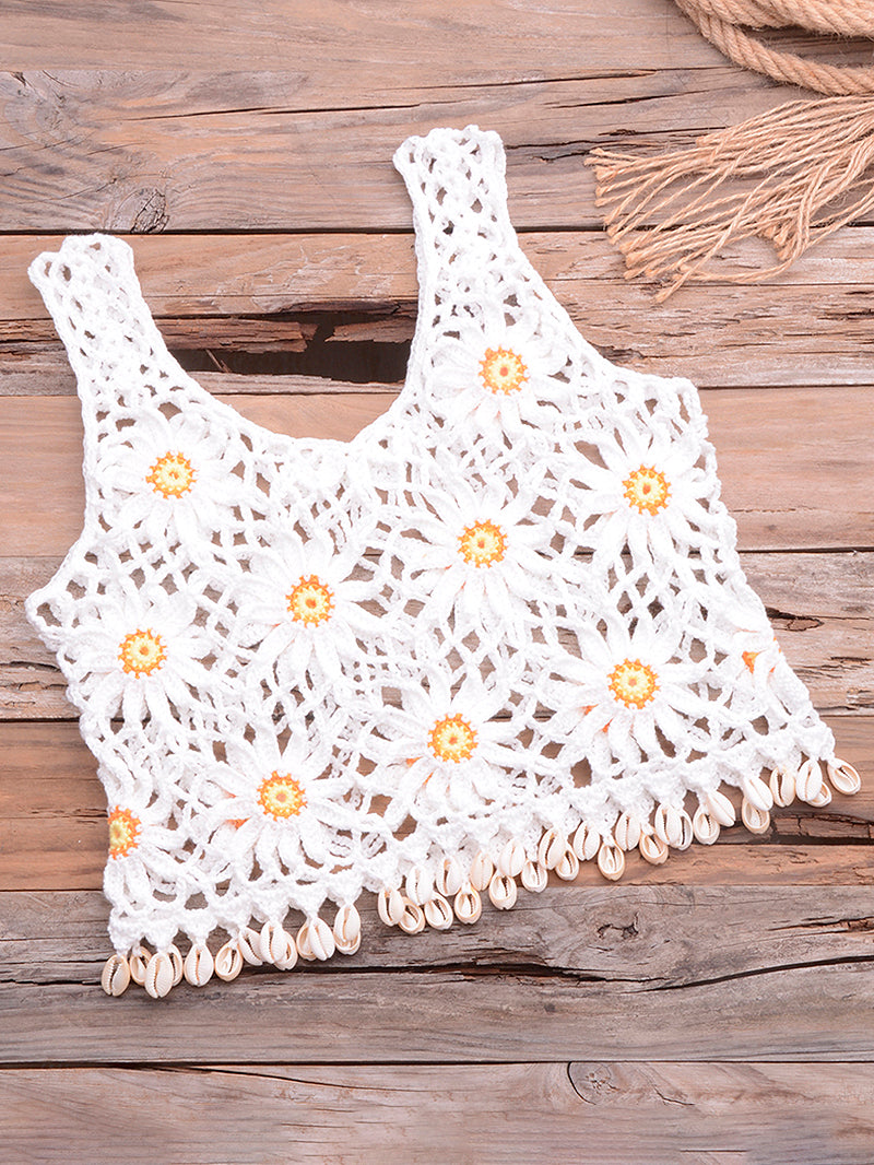 Daisy Pattern Shell Decor Tassels Cover Up
