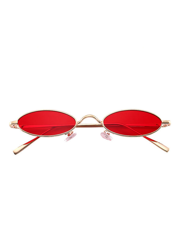 Metal Frame Tinted Lens Oval Sunglasses