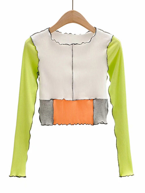 Color Block Lettuce Women Top