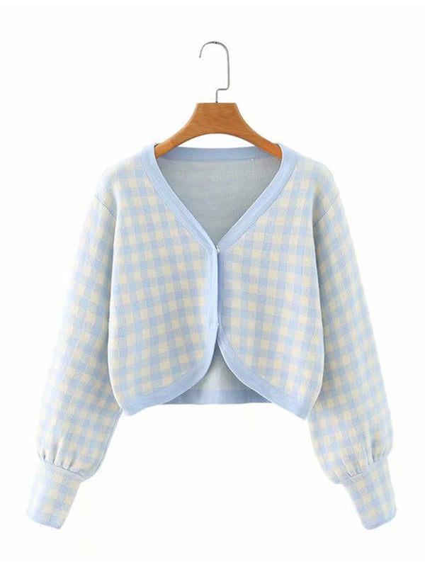 Color Block Plaid Knit Cardigan