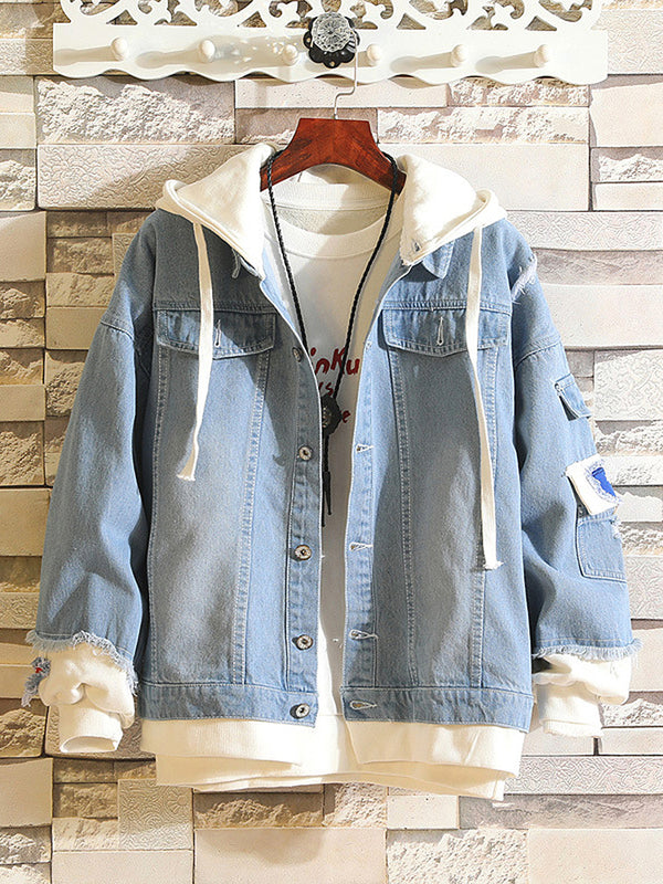 Embroidery Pattern Ripped Spliced Jacket