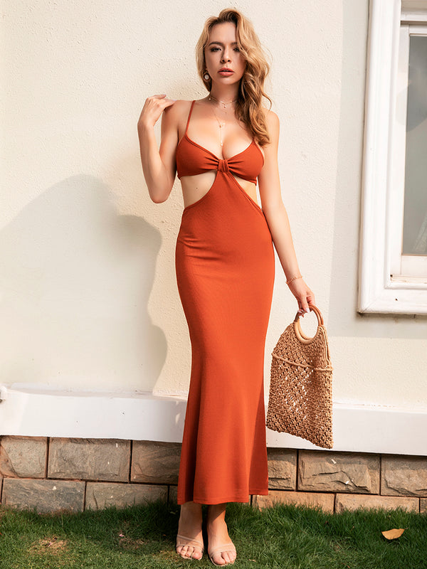 Pleated Hollow Backless Sling Maxi Dress