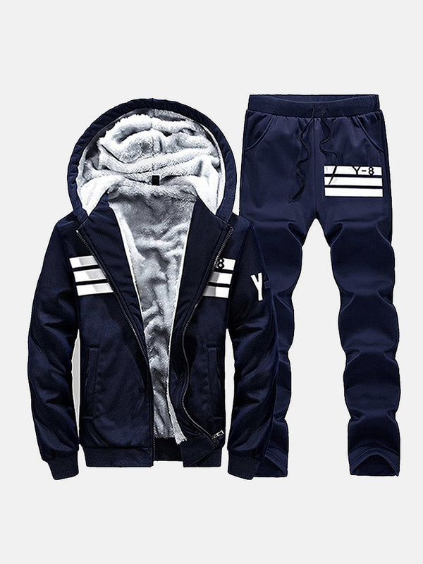 Men's Stripe Hooded Fleeced Hoodie and Pants Set