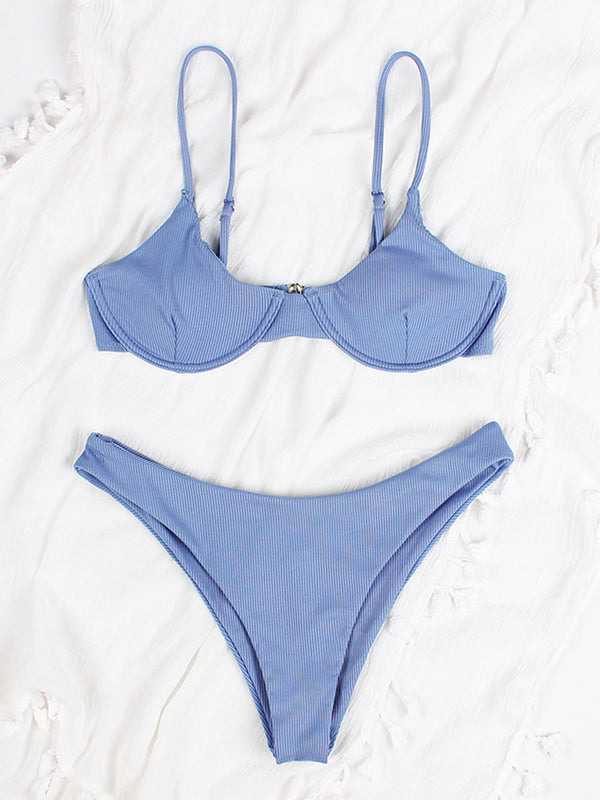 High Cut Underwire Ribbed Bikini Swimsuit