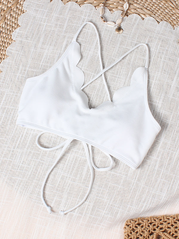 Textured Scalloped Crisscross Lace-up Bikini Top