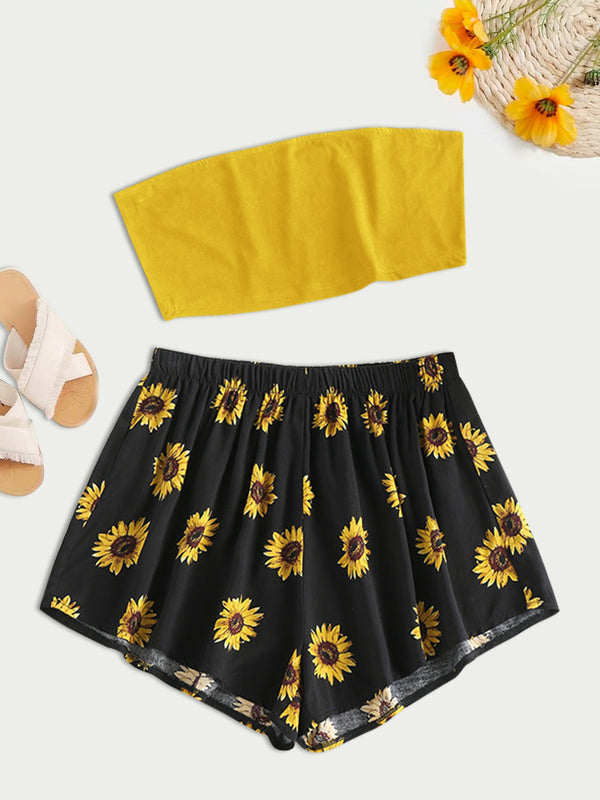 Sunflower Print Strapless High Waisted Shorts Set