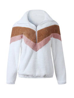 Geometry Color Block Zip Half Placket Teddy Sweatshirt