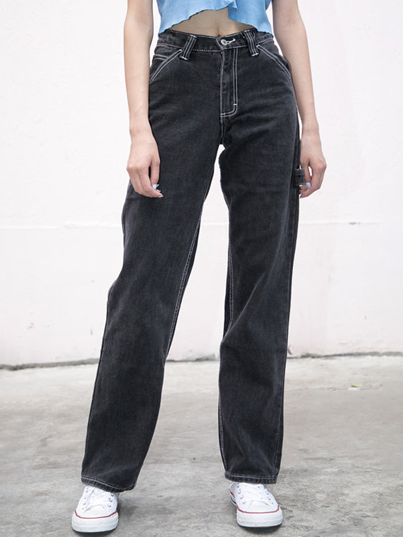 Pocket Patched High Waist Straight Leg Mom Jeans