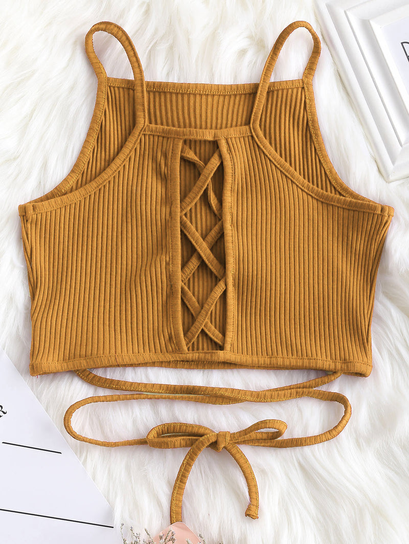 Criss Cross Lattice Ribbed Tank Top