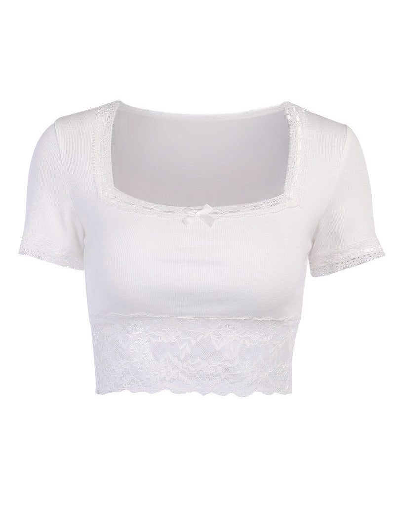 Square Neck Lace Trim Crop Top