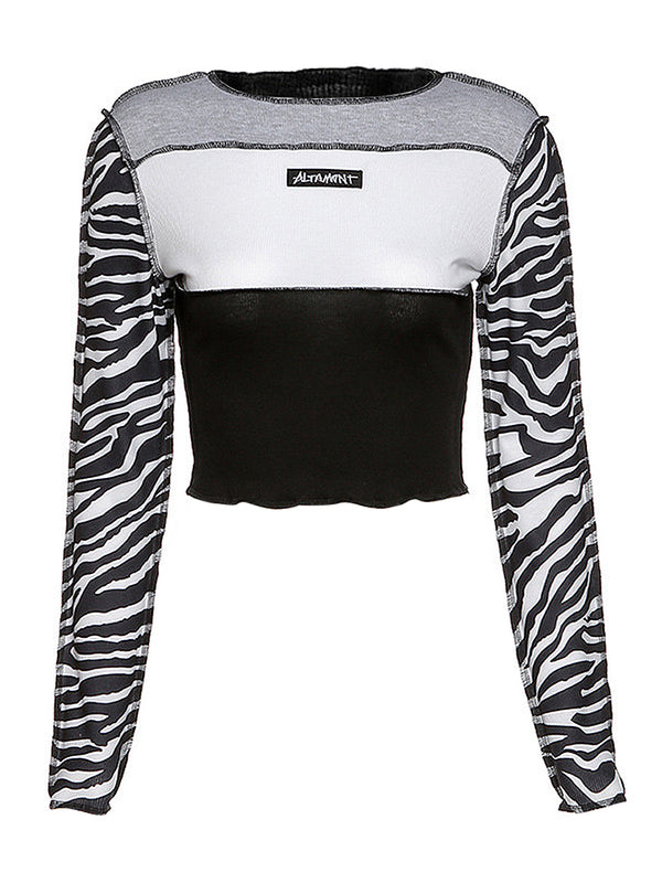 Zebra Print Color Block Lettuce Crop Top