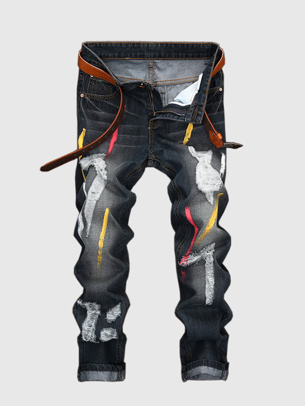 Men's Graffiti Black Jeans