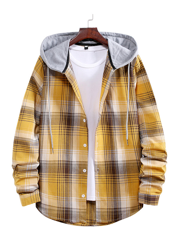 Men's Check Drawstring Hooded Shirt