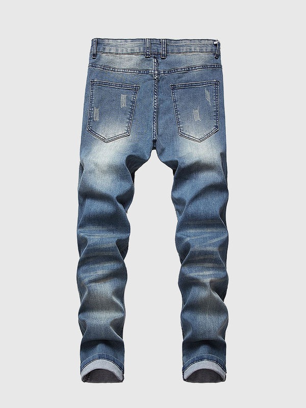 Men's Quilting Ripped Jeans