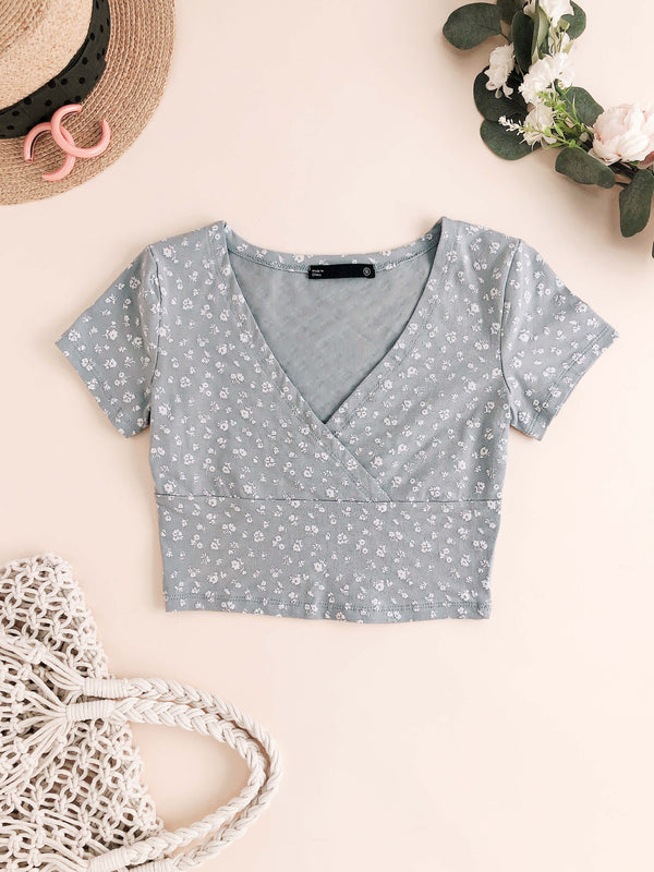 V-Neck Floral Print Short Top