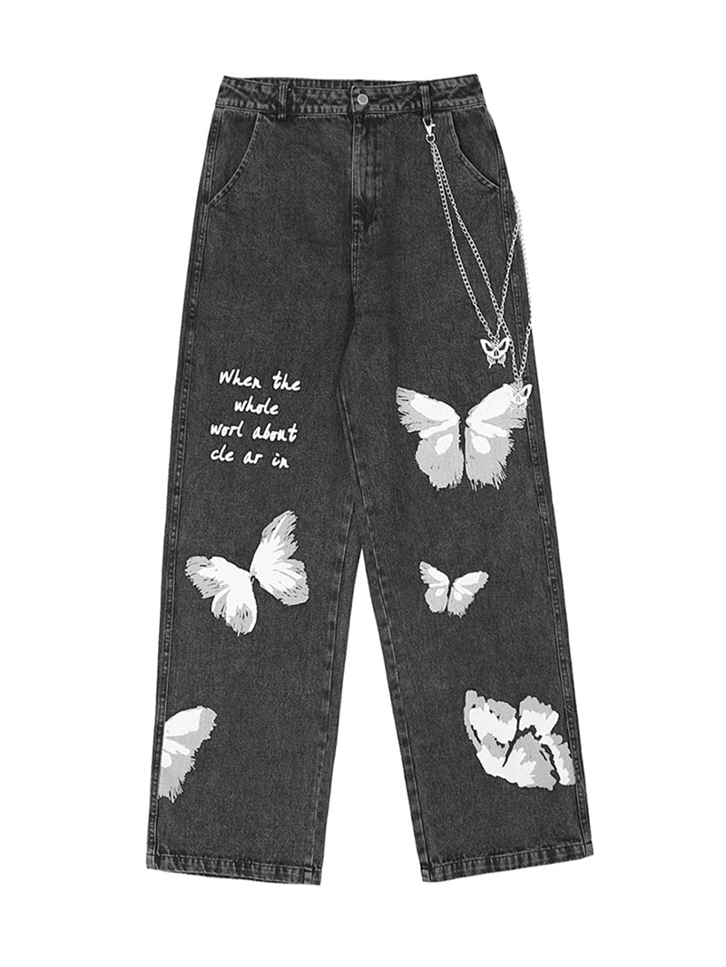 Butterfly Print High Waist Chain Jeans