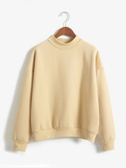 Fleece Solid Round Neck Sweatshirt