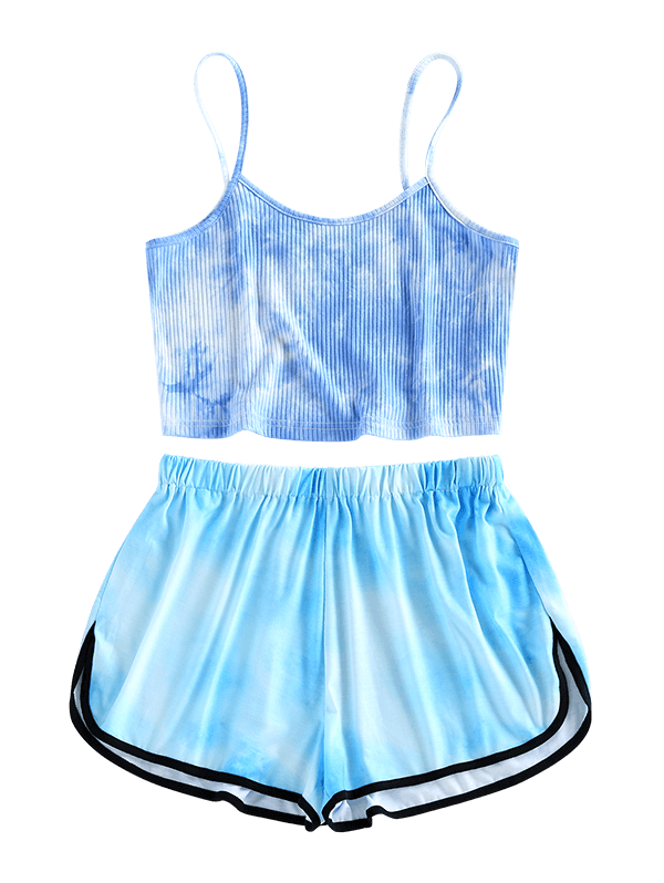 Ribbed Tie Dye Dolphin Shorts Set