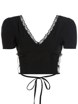 Lacework Strappy Backless Crop Tops
