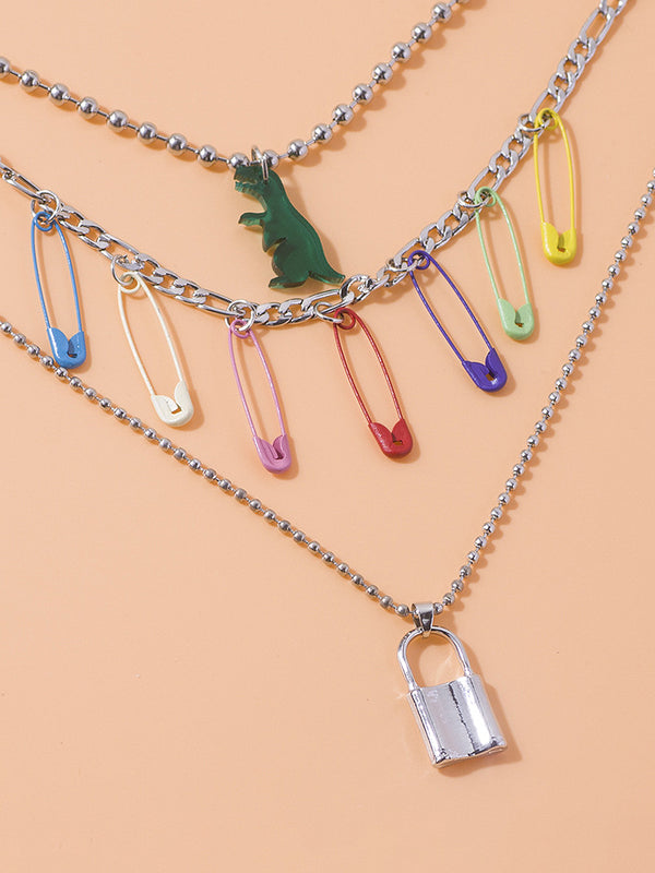 Safety Pin Dinosaur Lock Decor MultiLayer Necklace