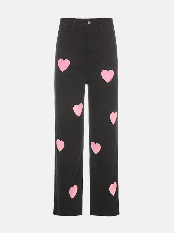 Heart Print Mom Jeans